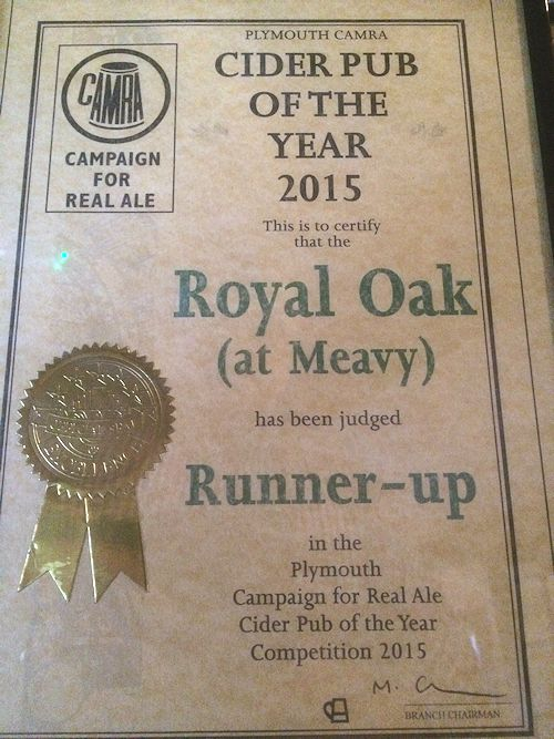 Plymouth CAMRA Runner-up Cider Pub of the Year