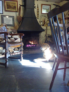 Cosy log fire, Royal Oak Inn, Meavy